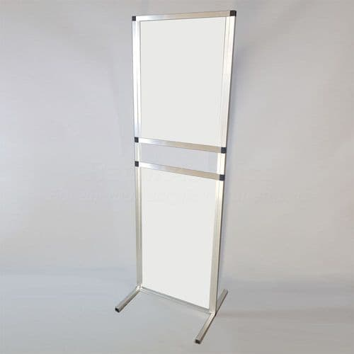 Free standing Sneeze Guard Screen – White 100cm wide with serving hatch