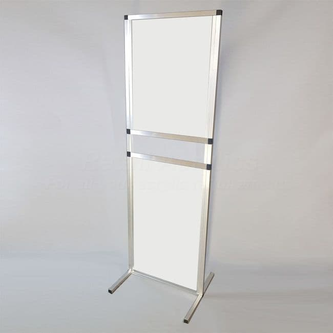 Free standing Sneeze Guard Screen – white 70cm wide with serving hatch