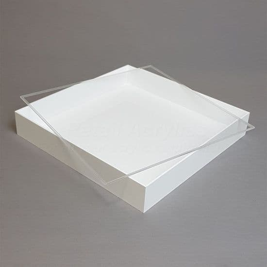 Trays with Lids - 5cm Deep- White Acrylic