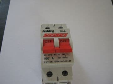 ASHLEY SUPASAFE 100 AMP AC22 DP 100/2 SWITCH DISCONNECTOR.