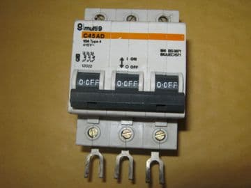 MERLIN GERIN C45 AD 10A 10 AMP TYPE 4 (12022) TRIPLE POLE MCB CIRCUIT BREAKER.