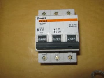 MERLIN GERIN C45 AD 2A 2 AMP TYPE 4 (12019) TRIPLE POLE MCB CIRCUIT BREAKER.