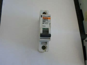 MERLIN GERIN C60HC 32A 32 AMP TYPE 3 M9 SINGLE POLE MCB CIRCUIT BREAKER.