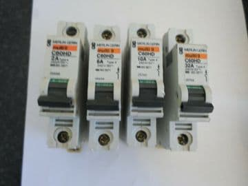 MERLIN GERIN C60HD 2A 6A 10A 32A TYPE 4 BS 3871 MCB CIRCUIT BREAKERS.