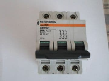 MERLIN GERIN C60HD 50A 50 AMP TYPE 4 M9  415V TRIPLE POLE CIRCUIT BREAKER.25735