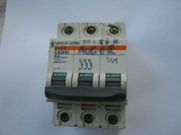 MERLIN GERIN C60HD 6A 6 AMP TYPE 4 415V TRIPLE POLE CIRCUIT BREAKER. 25727