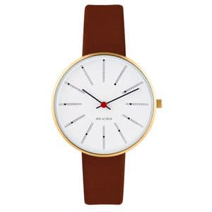 Arne Jacobsen Bankers Watch Gold Small 34mm with Brown Leather Strap 53107-1607G