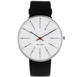 Arne Jacobsen Bankers Watch Medium 40mm with Black Leather Strap 53102-2001