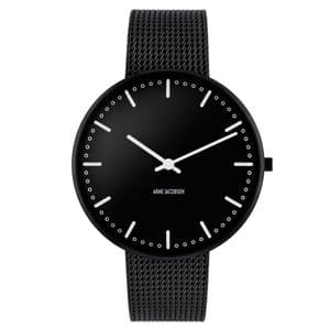 Arne Jacobsen City Hall Watch All Black Medium 40mm with Mesh Strap 53205B-2010