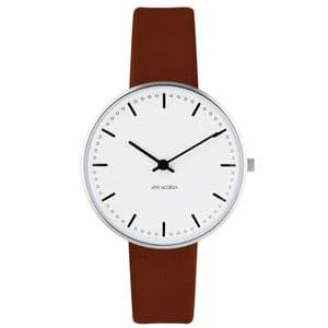 Arne Jacobsen City Hall Watch Small 34mm with Brown Leather Strap 53201-1607
