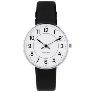 Arne Jacobsen Station Watch Small 34mm with Black Leather Strap 53401-1601
