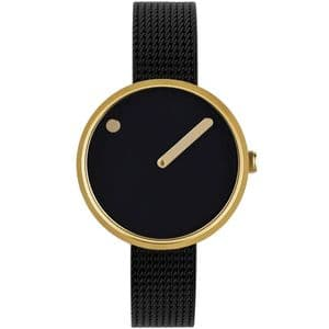 Picto 43385-1012 Gold Steel Watch Small with Black Dial Black Mesh Band