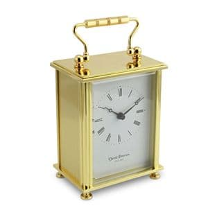 David Peterson Q/FB/BS Flat Brass Carriage Clock FB/BS with Quartz Movement