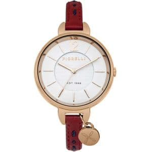 Fiorelli FO004RRG Rose Gold Red Leather Ladies Watch