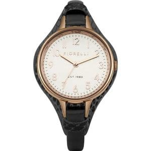 Fiorelli FO006BRG Rose Gold Ladies Black Leather Watch