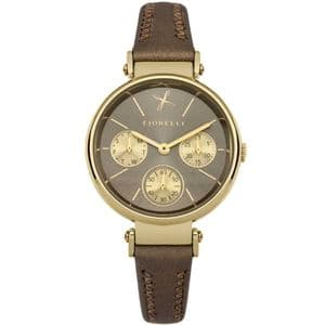 Fiorelli FO013TG Ladies Gold/Brown Chronograph Styled Leather Watch