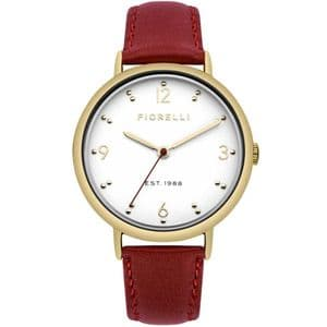 Fiorelli FO024R Gold Ladies Red Leather Watch