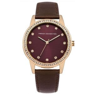 French Connection FC1251TA Ladies Brown Leather Strap Watch