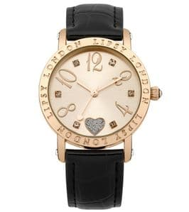 Lipsy LP113 Gold Coloured Rose Gold Dial Black Strap Ladies Watch