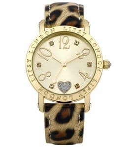 Lipsy LP124 Gold Coloured with Animal Print Strap Ladies Watch