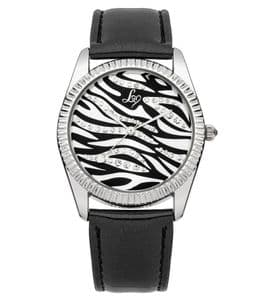 Lipsy LP154 Silver Coloured with Patterned Dial Black Strap Ladies Watch