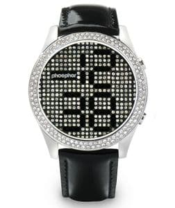 Phosphor Appear Black Crystal Ladies Watch with Black Gloss Leather Strap MD005L
