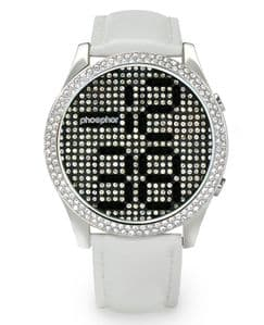 Phosphor Appear Black Crystal Ladies Watch with White Gloss Leather Strap MD004L
