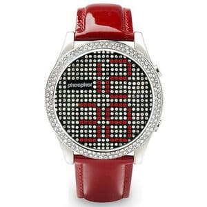 Phosphor Appear Red Crystal Ladies Watch with Red Gloss Leather Strap MD002L