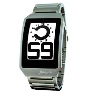 Phosphor E-Ink Digital Hour Gents Watch with Stainless Steel Band DH03