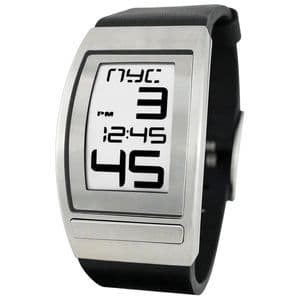 Phosphor World Time Curved E Ink Gents Watch with Black Leather Band WC03