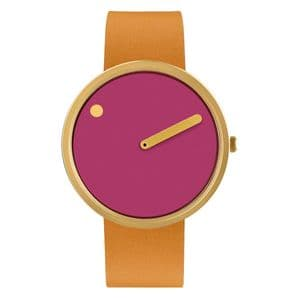 Picto 43378-4520MG Gold Watch with Pink Dial Light Brown Leather Strap