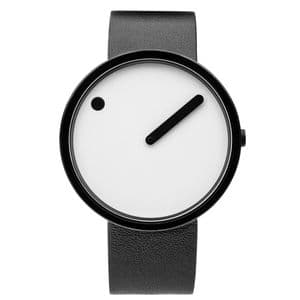 Picto 43379-4120MB Black Watch Medium with White Dial Black Leather Strap