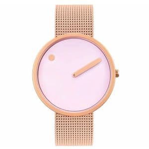 Picto 43382-1120 Rose Gold Watch Medium Pink Dial Rose Gold Mesh Band