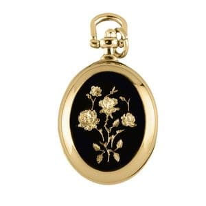 Woodford Gold Plated Flower Oval Quartz Pendant Watch 1237