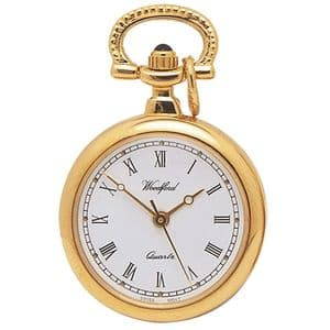 Woodford Gold Plated Open Face Quartz Pendant Watch 1217