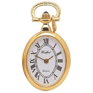 Woodford Gold Plated Oval Quartz Pendant Watch 1209