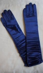 Long Navy Ruched Satin Gloves