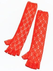 Long Red Lace Fingerless Gloves
