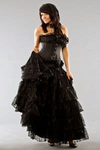 Victorian Black Lace Skirt, long lace gothic skirt,