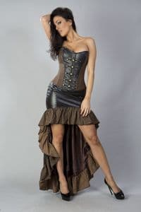 high low leather steampunk skirt, frilled steampunk skirt, leather burlesque high low skirt, alternative high low skirt